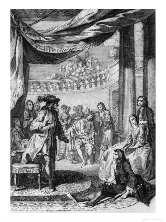 The-Play-Scene-from-Hamlet-By-Hubert-Gravelot-1699-1773
