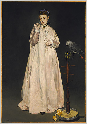 Manet woman with parrot