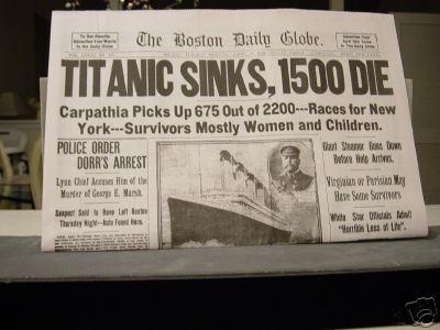 Titanic headline 1912